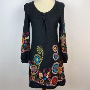 Anthro Aryeh Knee Length Dress Black Floral Medium